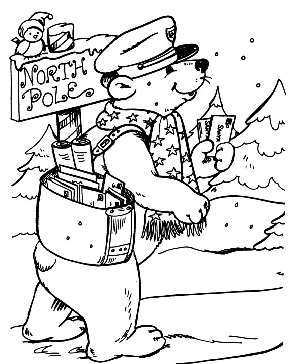 bear delivers mail at the north pole coloring index
