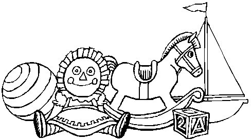 Printable Christmas Coloring Page: Rocking Horse, Doll, Boat, Ball